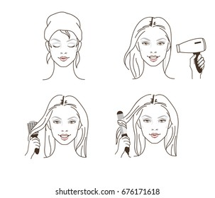 Woman use blow dryer, comb and curling iron for making hairstyles. Line style vector illustration isolated on white background.