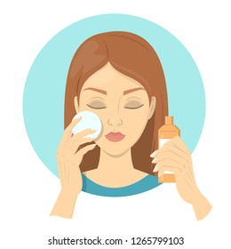 Woman use moisturizer for her face. Facial cosmetic and skin care. Idea of beauty and cleansing routine. Skin hygiene. Isolated flat vector illustration