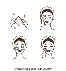 Woman use soak cotton pads on her face and eyes. Vector isolated illustrations set.