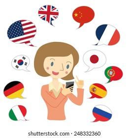 Woman to use translation app