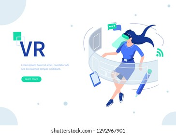 Woman use vr technologyconcept. Can use for web banner, infographics, hero images. Flat isometric vector illustration isolated on white background.