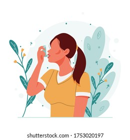 Woman uses an asthma inhaler against an allergic attack. World asthma day. Allergy, asthmatic. Inhalation medicine. Bronchial asthma. Vector flat concept illustration