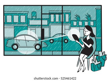 Woman uses a ride sharing app on her smartphone to conveniently call a car while shopping during a rainstorm.
