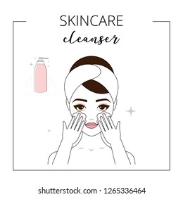 Woman using cleanser, taking care about face. Lined vector illustration.