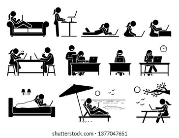 Woman using computer on different postures, poses, and places. Artwork depicts girl use a laptop to access and browse Internet at home, office, cafe, bedroom, beach, and outdoor park.