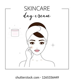 Woman using day cream, taking care about face. Lined vector illustration.