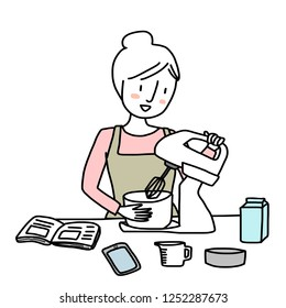 Woman using electronic mixer to beat mixture in a bowl as recipe in cookbook advised. Young woman holding electronic mixer beating ingredients in a mixing bowl. Vector illustration with doodle style.
