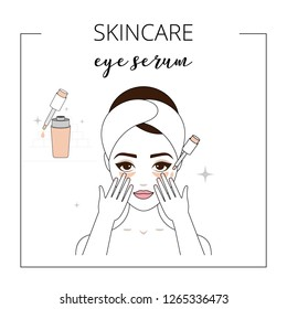 Woman using eye serum, taking care about face. Lined vector illustration.