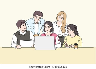 A woman is using a laptop and brainstorming around her. hand drawn style vector design illustrations.