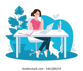 Woman using laptop flat vector illustration. Working from home, remote job. Online shopping. Freelance, e-learning concept. Girl studying, drinking coffee. Freelancer, student cartoon character