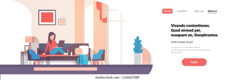 woman using laptop living room interior home modern apartment female relax concept flat horizontal banner copy space vector illustration