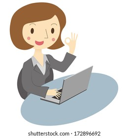 Woman Using Laptop, perfect
