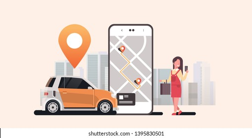 woman using mobile app ordering automobile vehicle with location mark rent car sharing concept transportation carsharing service modern cityscape background horizontal