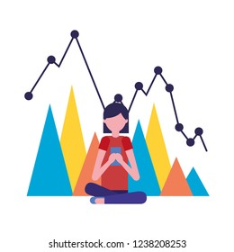 woman using mobile with chart report