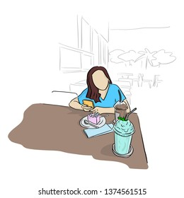 woman using mobile phone with cake cand cool drinks on table in coffee shop vector illustration sketch doodle hand drawn with black lines isolated on white background