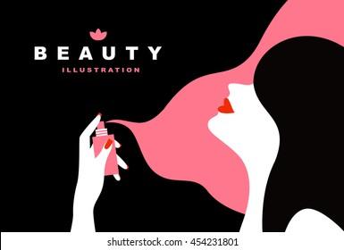 Woman using perfume. Flat art style.