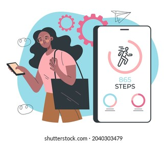 Woman using phone for counting steps. Step mobile phone app counter pedometer activity heart rate monitoring. Vector flat graphic design cartoon midern style illustration