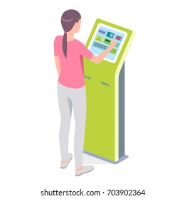 Woman using self-service payment terminal. Vector isolated illustration