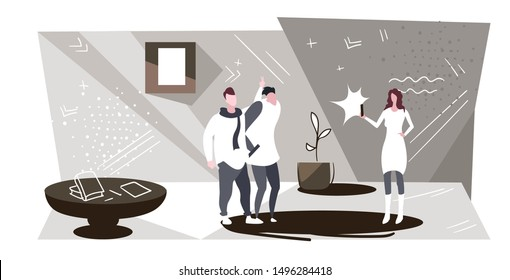 woman using smartphone camera shooting two playful guys having fun standing together showing fingers behind head modern office interior sketch horizontal full length