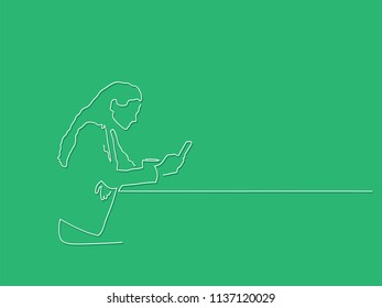 Woman using a smartphone line drawing, vector illustration design. People collection.