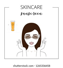 Woman using sunscreen, taking care about face. Summer daily care of skin. Lined vector illustration.