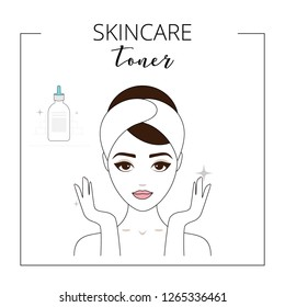 Woman using toner, taking care about face. Lined vector illustration.