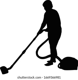 a woman using vacuum cleaner, silhouette vector