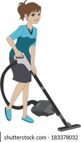 Woman Vacuuming Floor