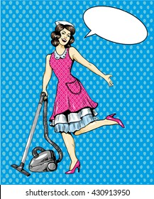 Woman vacuuming floor in house. Cleaning service concept vector illustration in retro comic pop art style.