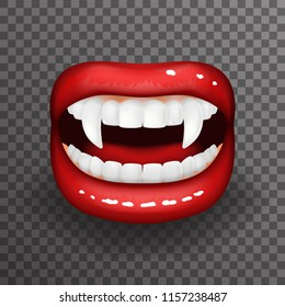 Woman vampire tooth stylish lips slightly open mouth fashion mockup transparent background design vector illustration