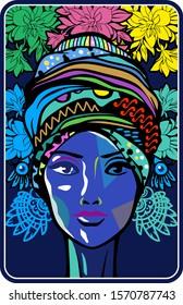 Woman vector. American african aztec mayan mexican ornament design