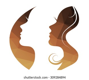 Woman  vector logo,  girl silhouette