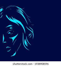 Woman vector silhouette line pop art potrait logo colorful design with dark background. Abstract vector illustration. Isolated black background for t-shirt, poster, clothing.