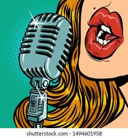 woman. vintage retro microphone. Music standup concert radio podcast blog. Comic cartoon pop art retro vector illustration drawing