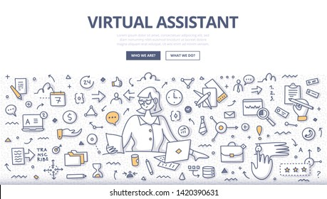 Woman virtual assistant with laptop provides various services to businesses: administrative work, customer service, research assistant, dropshipping specialist, digital marketing, data entering