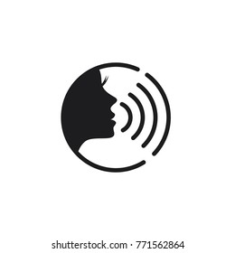 woman voice command with sound waves icon vector