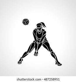 Woman volleyball player silhouette passing ball