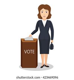 Woman vote at transparent ballot box. Vector illustration