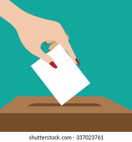 Woman voting flat design. EPS 10 vector illustration, grouped for easy editing.