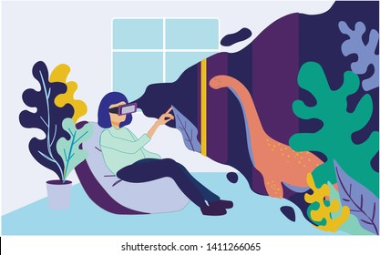 Woman in VR Glasses Sitting at Home in Armchair Watch Prehistoric Predator Dinosaur at Virtual Augmented Reality, Making Excursion, Filed Trip in Prehistorical Period. Cartoon Flat Vector Illustration