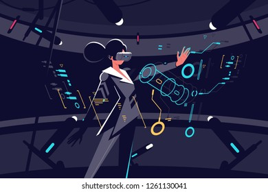 Woman in vr glasses working process vector illustration. Female in black working in virtual reality office with tiny details on interactive panel. Businesswoman flat style concept on dark background