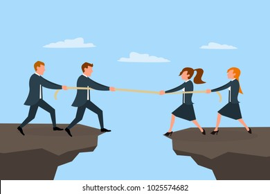 Woman vs Men, girl vs boys. Business men and women pulling rope at the cliff. Competition between female and male business teams concept. Horizontal eps vector illustration.