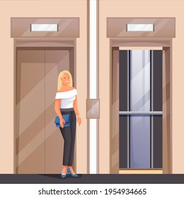 Woman waiting for elevator scene. Young happy girl standing near lift in house, office or hotel building vector illustration. Luxury room interior design for employees or guests.