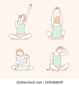 The woman wakes up in the morning and takes various stretching actions. hand drawn style vector doodle design illustrations.