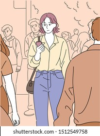 A woman is walking in the crowd. hand drawn style vector design illustrations.