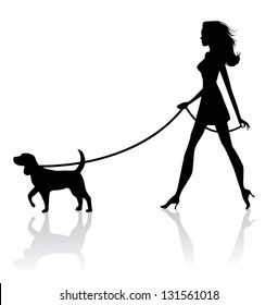 Woman Walking Dog Silhouette. EPS 8 vector, grouped for easy editing. No open shapes or paths.