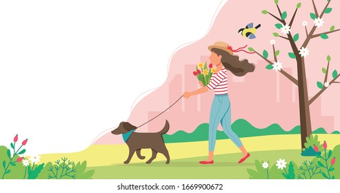Woman walking dog in spring with flowers. Cute vector illustration in flat style.