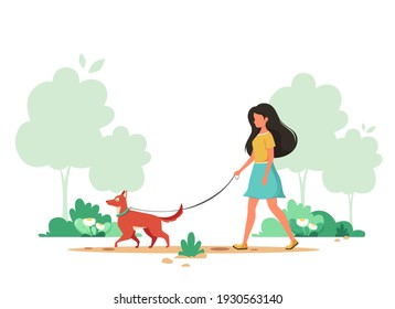 Woman walking with dog in spring. Outdoor activity concept. Vector illustration.