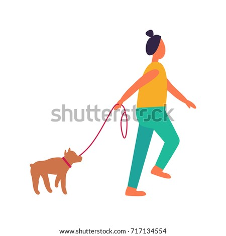 Woman Walking Dog Vector Illustration Isolated Stock Vector (Royalty ...