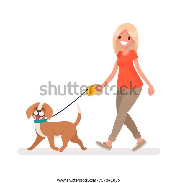 Женщина гуляет с собакой. Векторная иллюстрация в плоском стиле